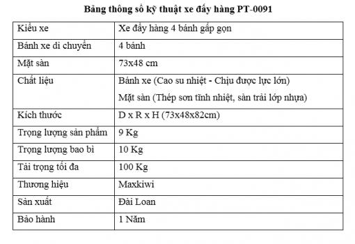 Bảng thông số kỹ thuật PT-0091