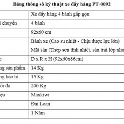 Bảng thông số kỹ thuật PT-0092