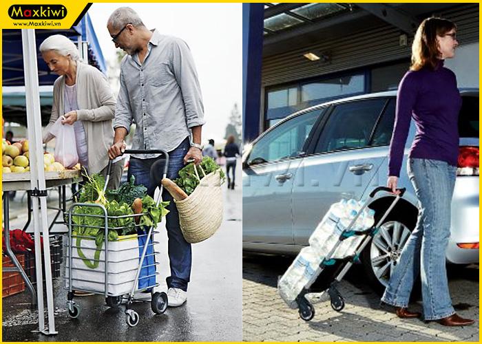 Xe đẩy hàng gia đình hỗ trợ người lớn tuổi vận chuyển hàng hóa dễ dàng